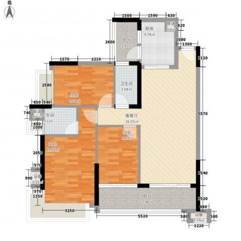 雅居乐海南清水湾3室1厅2卫1厨111.00㎡户型图
