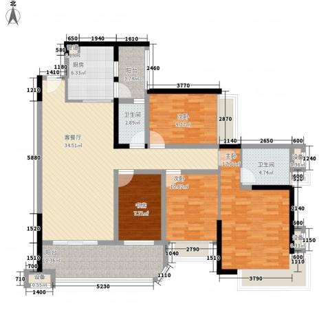 雅居乐海南清水湾4室1厅2卫1厨134.00㎡户型图