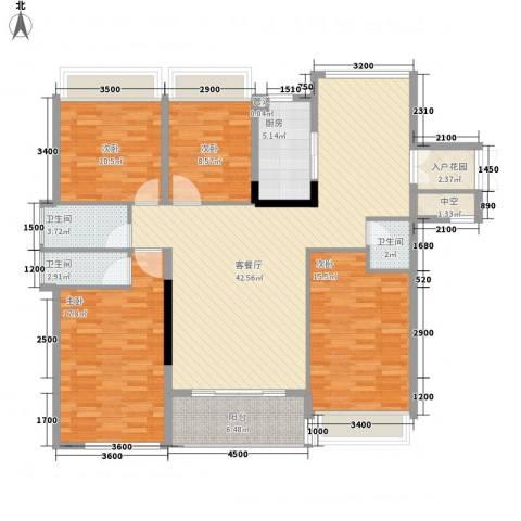 中洋公园首府4室1厅3卫1厨142.00㎡户型图