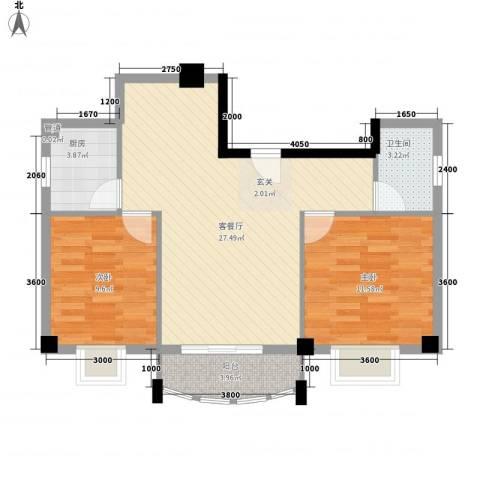 翔鹭花城新生活2室1厅1卫1厨84.00㎡户型图