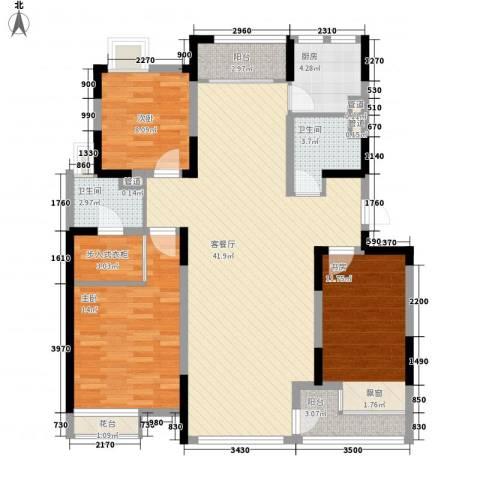 保利溪湖林语三期3室1厅2卫1厨140.00㎡户型图