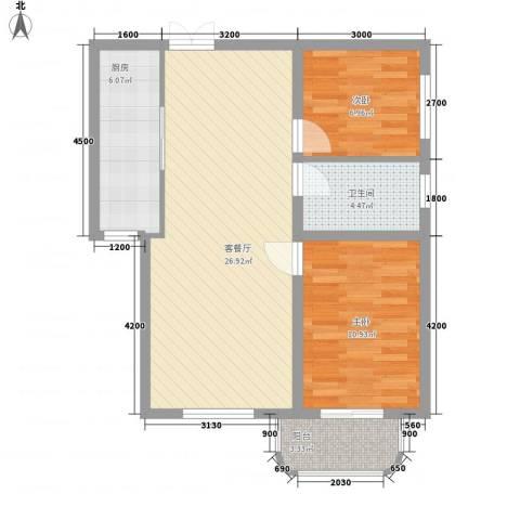 金秋花园2室1厅1卫1厨83.00㎡户型图