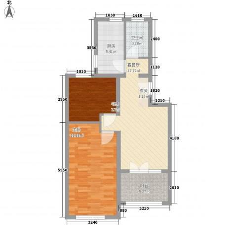 盘龙谷文化城2室1厅1卫1厨71.00㎡户型图