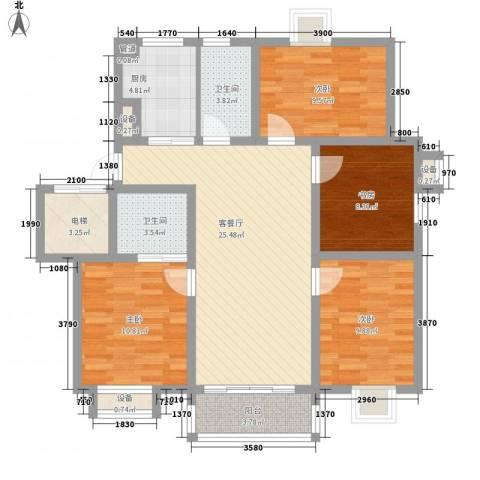 东方名城和园4室1厅2卫1厨125.00㎡户型图