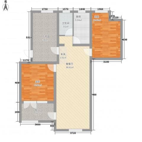 盘龙谷文化城2室1厅1卫1厨83.21㎡户型图