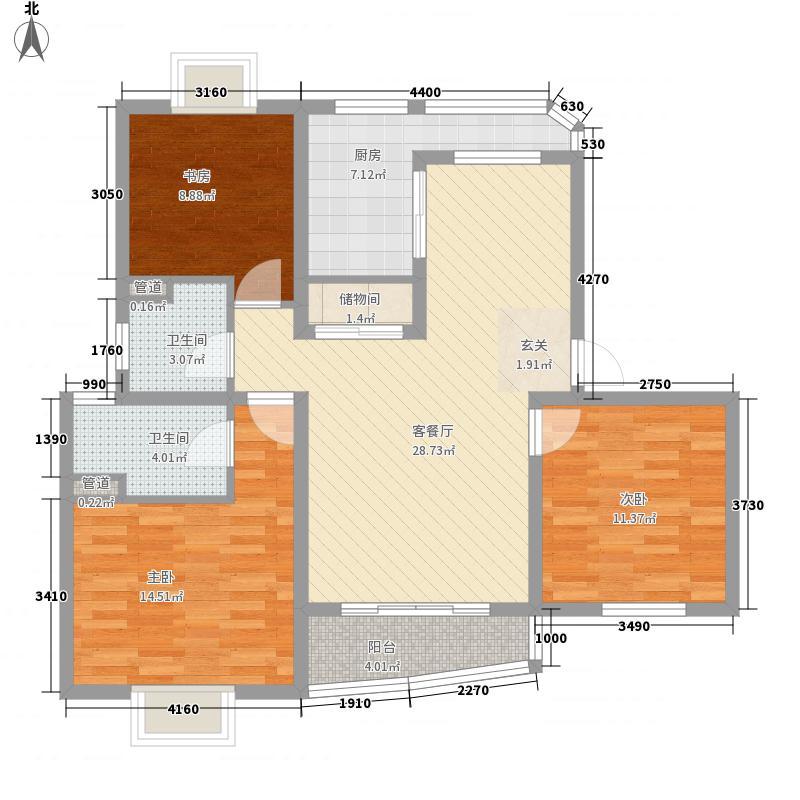 汇丽苑122.00㎡上海汇丽苑三期户型3室2厅2卫1厨