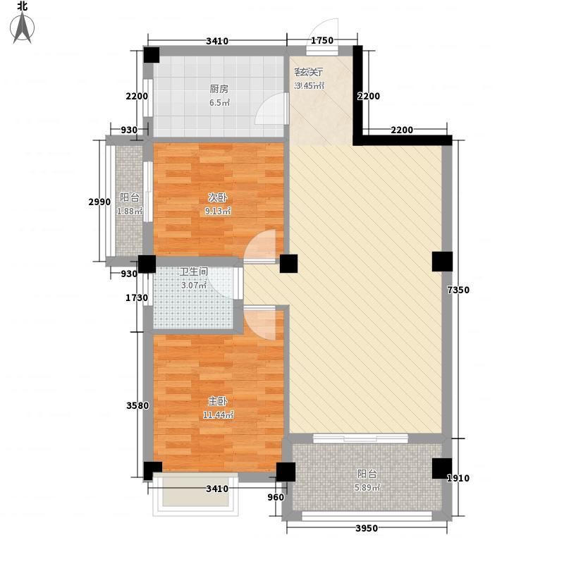 盛天尚都8#楼B型户型2室2厅1卫1厨