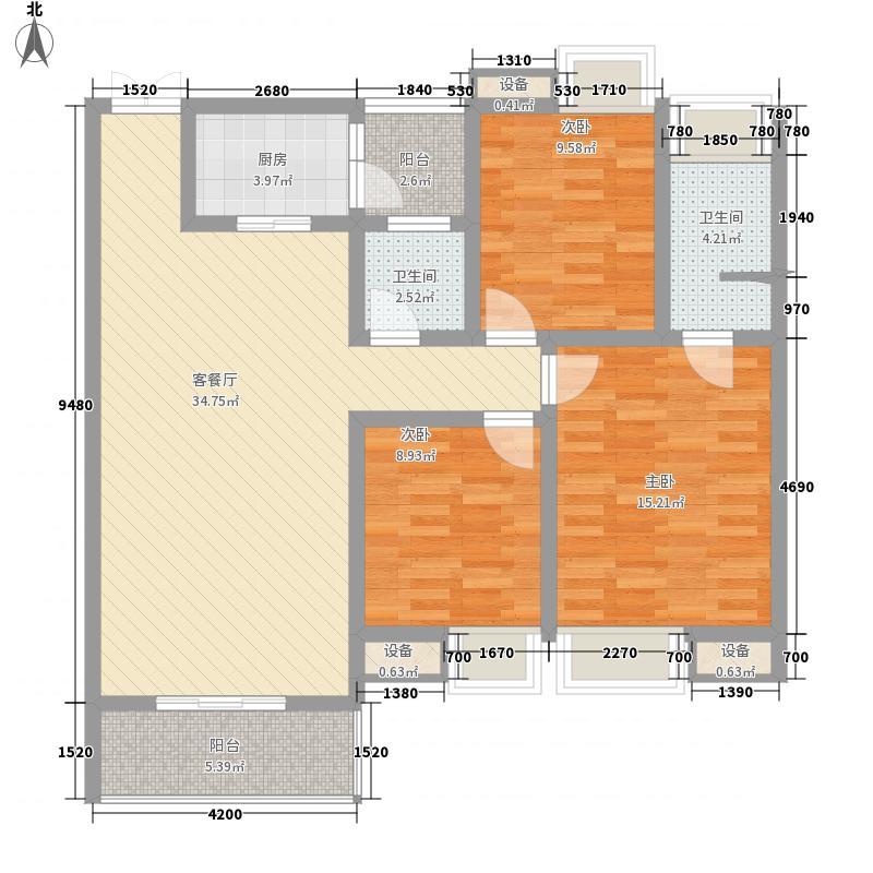 富瑞・华美金庄17.00㎡A1户型3室2厅2卫1厨