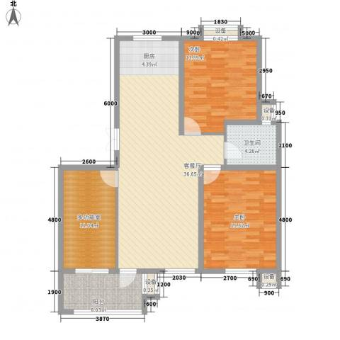 长江国际花园2室1厅1卫0厨88.05㎡户型图