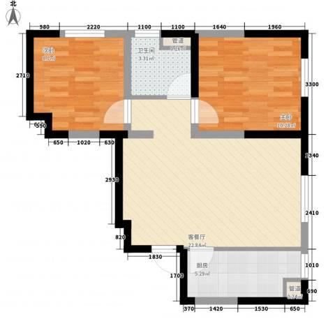 万科・润园2室1厅1卫1厨72.00㎡户型图
