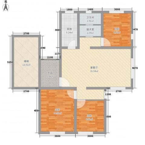 艾博龙园3室1厅1卫1厨110.00㎡户型图