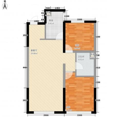 万科・润园2室1厅1卫1厨90.00㎡户型图