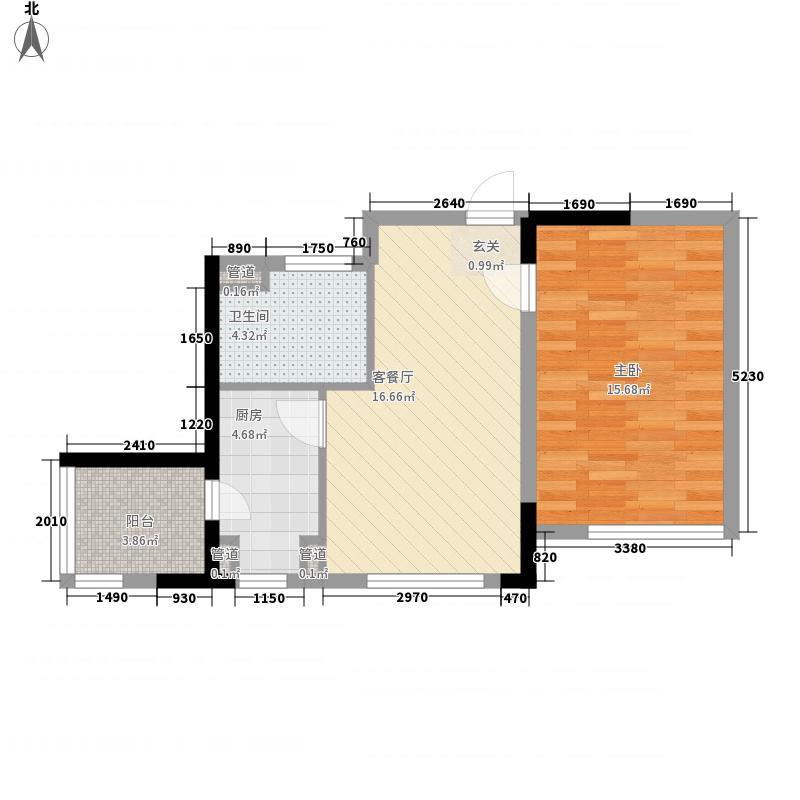 北回归线64.19㎡户型1室1厅1卫1厨