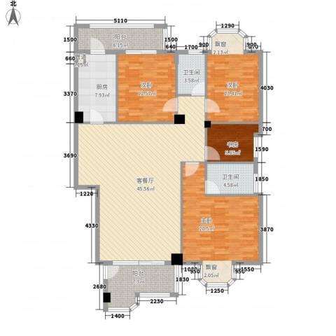 丰泰观山花园4室1厅2卫1厨178.00㎡户型图