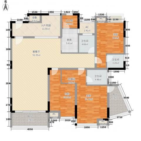 湖景壹号庄园别墅3室1厅3卫1厨171.59㎡户型图