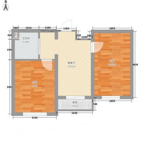 澜山溪谷2室1厅1卫1厨59.00㎡户型图