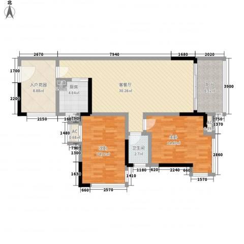 汇景盛世东方2室1厅1卫1厨82.22㎡户型图