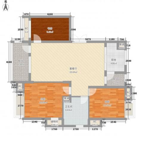 汇景盛世东方3室1厅1卫1厨129.00㎡户型图