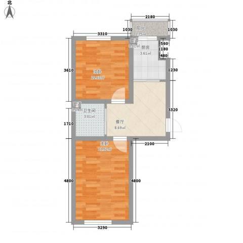 澜山溪谷2室1厅1卫1厨58.00㎡户型图
