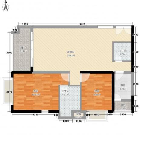 昌达・风华海月2室1厅2卫1厨113.00㎡户型图