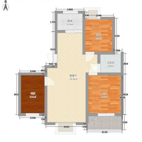 丽景花园3室1厅1卫1厨87.00㎡户型图