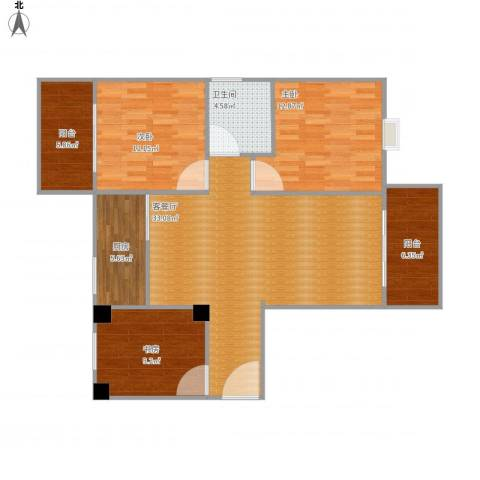 海湾新城3室1厅1卫1厨121.00㎡户型图