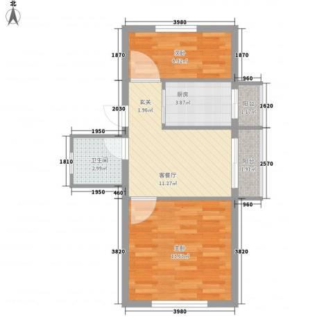 美景天城2室1厅1卫1厨60.00㎡户型图