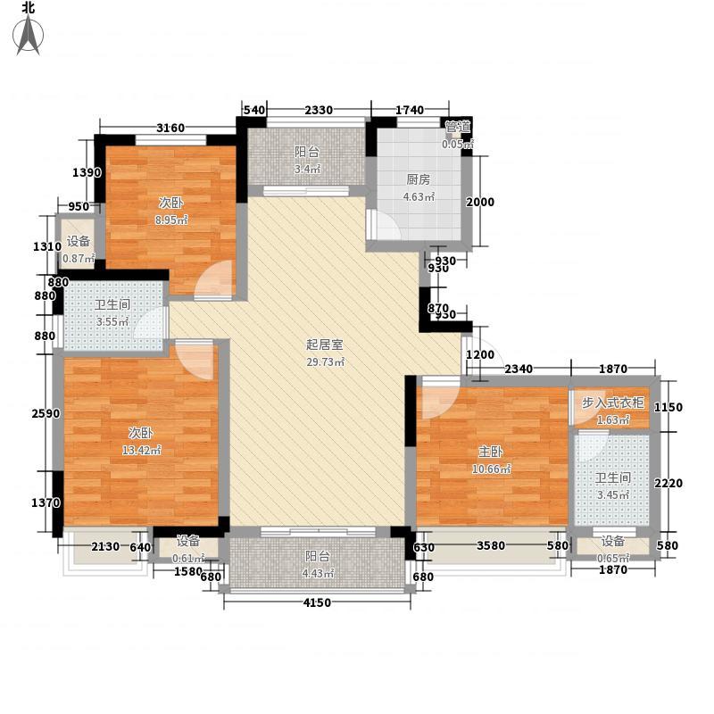 富建都市壹号125.00㎡一期8#标准层B1户型3室2厅2卫1厨