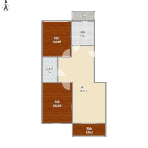 汇文名邸2室1厅1卫1厨111.00㎡户型图