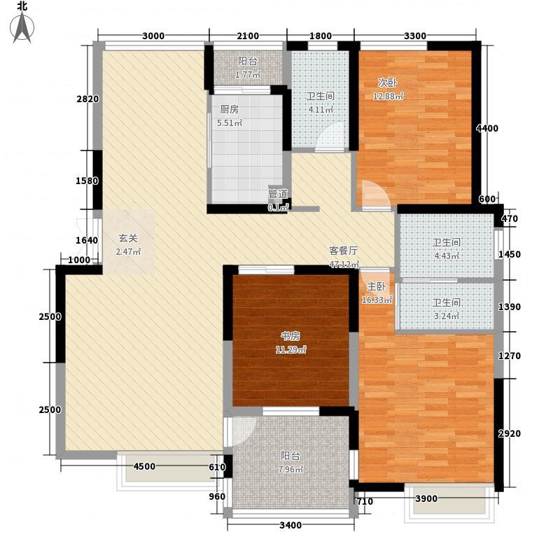 兰亭坊147.22㎡兰亭坊户型图8#-丹凤园――雅心宅3室2厅2卫1厨户型3室2厅2卫1厨