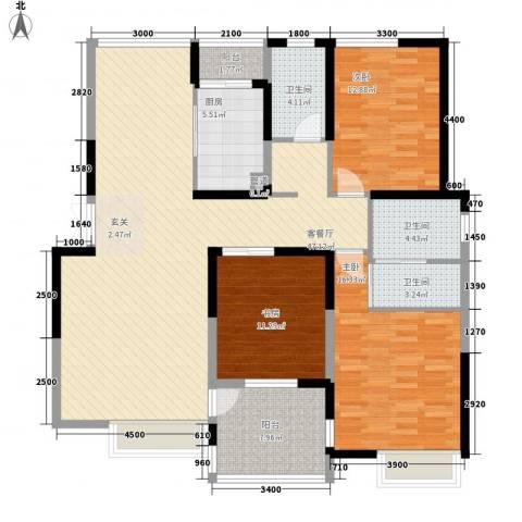 兰亭坊3室1厅3卫1厨147.00㎡户型图