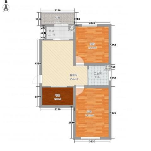 澜山溪谷3室1厅1卫1厨74.00㎡户型图