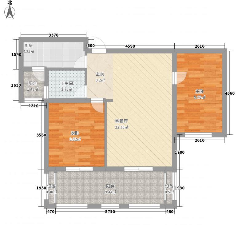 银城聚泽园88.00㎡一期03栋标准层a5户型2室2厅1卫1厨