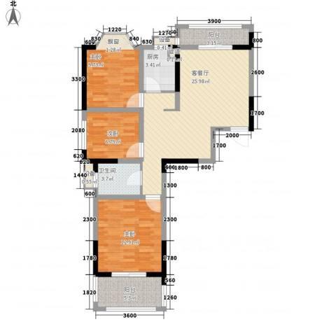 国光山水间3室1厅1卫1厨95.00㎡户型图