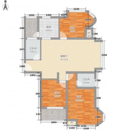 凯尔枫尚3室1厅2卫1厨118.00㎡户型图