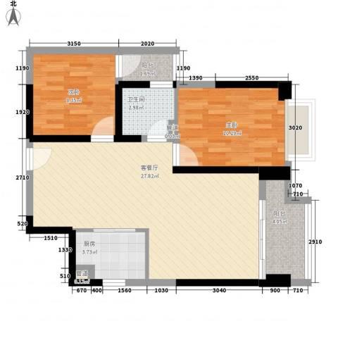 东方希望天祥广场天荟2室1厅1卫1厨78.00㎡户型图