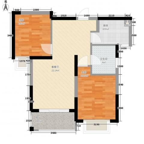 银亿海尚广场2室1厅1卫1厨63.00㎡户型图