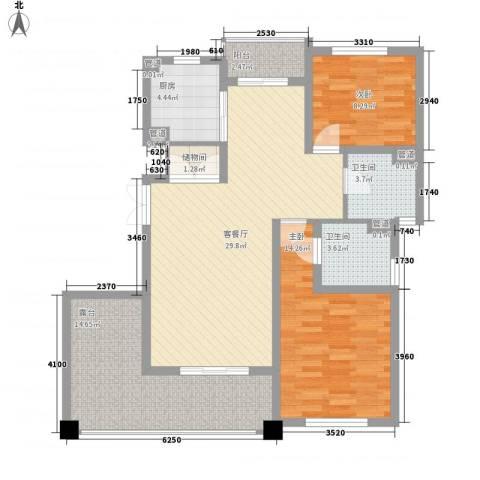 尚东国际名园2室1厅2卫1厨121.00㎡户型图