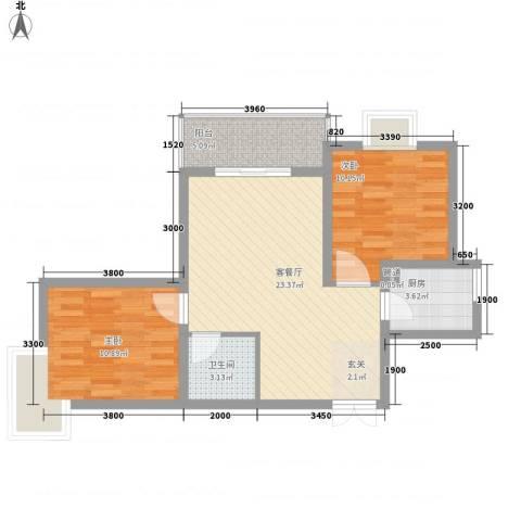 西城馨苑2室1厅1卫1厨81.00㎡户型图