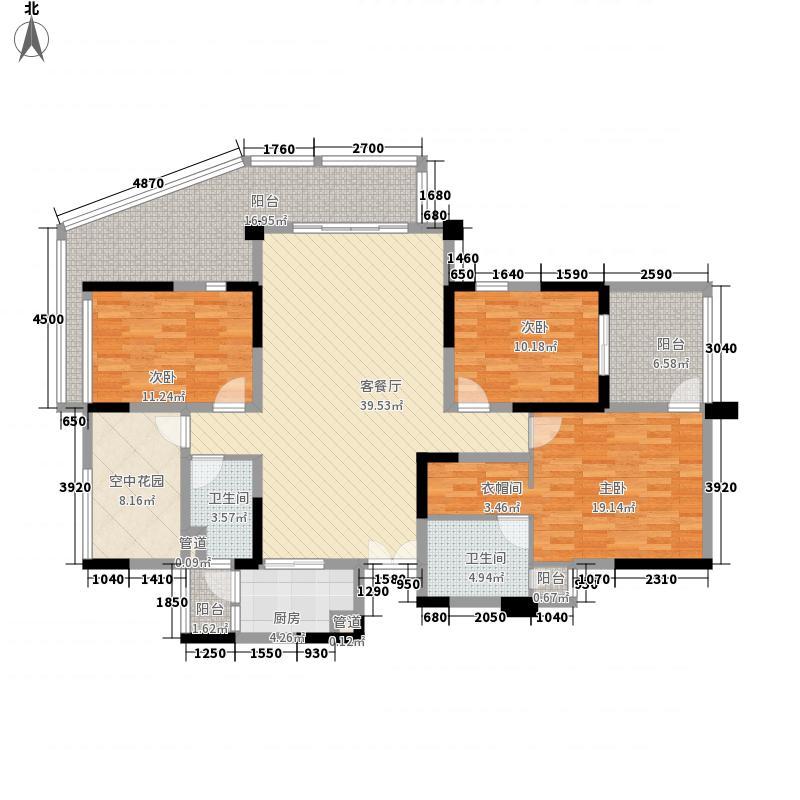 成都华侨城纯水岸145.00㎡二期A1户型3室2厅2卫1厨