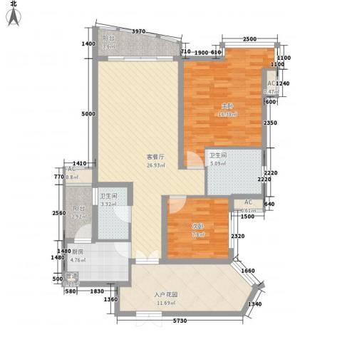 盛世华南2室1厅2卫1厨122.00㎡户型图