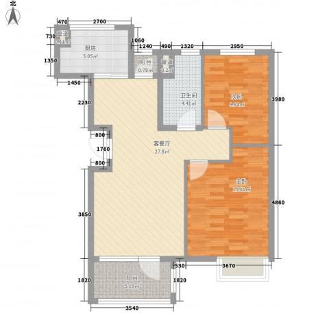 「大连天地」悦翠台2室1厅1卫1厨85.00㎡户型图