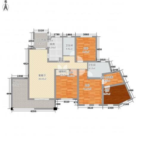 尚东国际名园4室1厅2卫1厨168.00㎡户型图