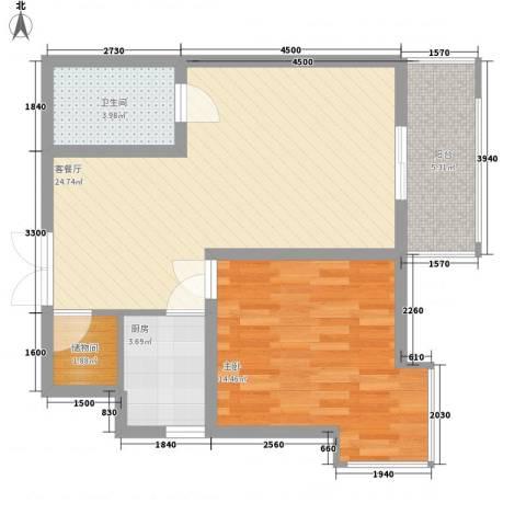 伟邦新西城1室1厅1卫1厨72.00㎡户型图