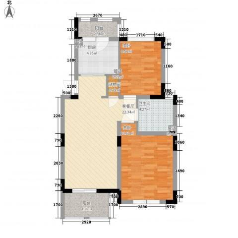 加州洋房2室1厅1卫1厨87.00㎡户型图