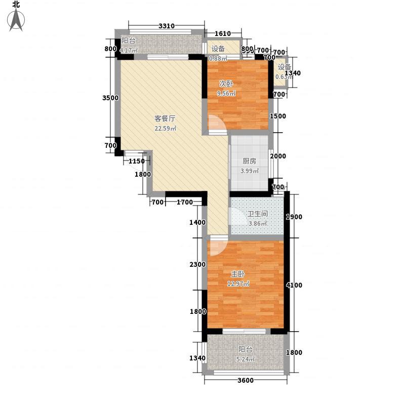 国光山水间80.58㎡国光山水间户型图高层C户型2室2厅1卫1厨户型2室2厅1卫1厨