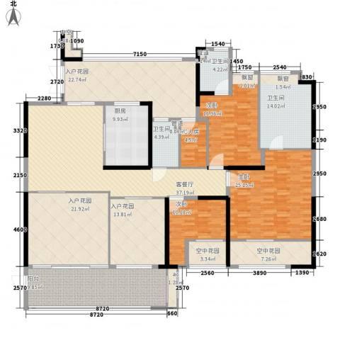 怡翠宏�3室1厅3卫1厨217.23㎡户型图