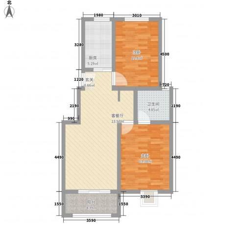 月明苑2室1厅1卫1厨91.00㎡户型图
