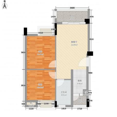 阳光海岸宽寓2室1厅1卫0厨80.00㎡户型图