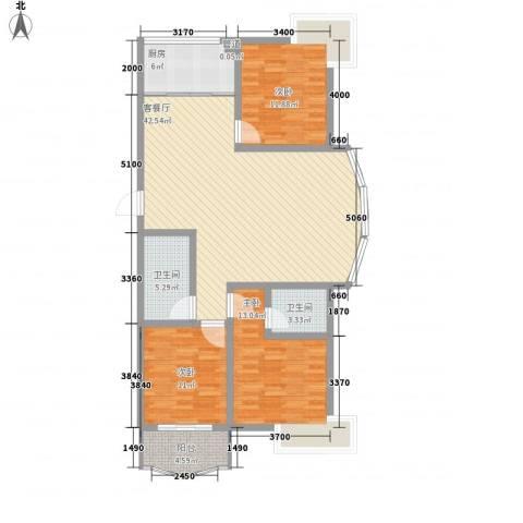 月明苑3室1厅2卫1厨139.00㎡户型图